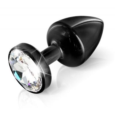 Plug anale nero in alluminio con Swarovski originale ANNI 8 X 3,5 cm