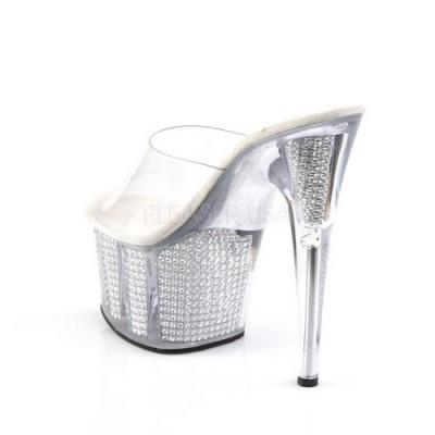 ADORE-701 sandali glitterati perline argento internamente tacco 17 cm zeppa 7 cm fascia trasparente nr39