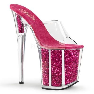 Flamingo sandali glitterati fucsia internamente tacco 20cm zeppa 10 cm fascia trasparente nr 36