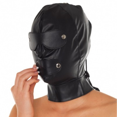 Maschera in pelle regolabile con lacci e paraocchi