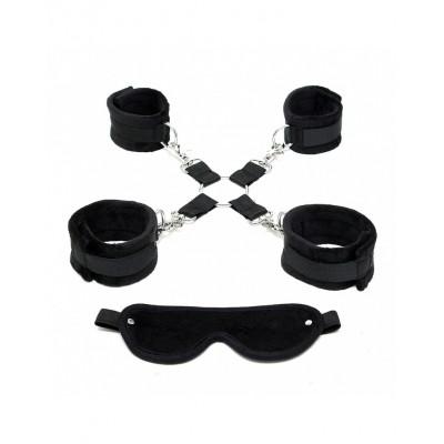 Soft bondage set - hogtie con manette in velcro e mascherina