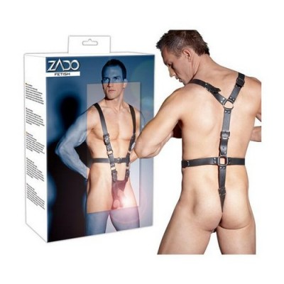 Harness in pelle per uomo taglia S/M con sacca showmaster per pene e testicoli