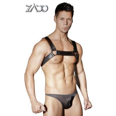 Harness maschile per spalle in cuoio e con anelli in metallo taglia unica regolabile