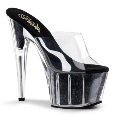 ADORE-701 stiletto glitterato nero internamente tacco 17 cm zeppa 7 cm fascia trasparente nr 35
