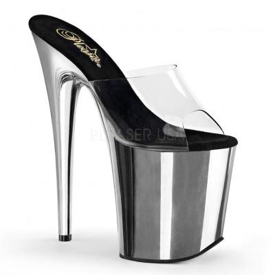 FLAMINGO 801, sandali in colore argento e trasparente, plateau 10 cm, tacco 20 cm