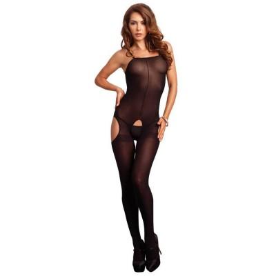 Opaque Suspender Bodystocking O/S Black