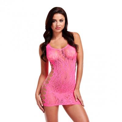 Lapdance - Leopard Lace Mini Dress Pink