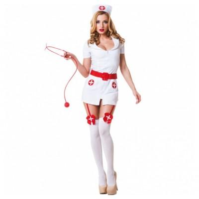 Costume da Infermiera composto da Vestitino con Reggicalze - Cintura Laccata - Copricapo - NON compresi Stetoscopio e Calze