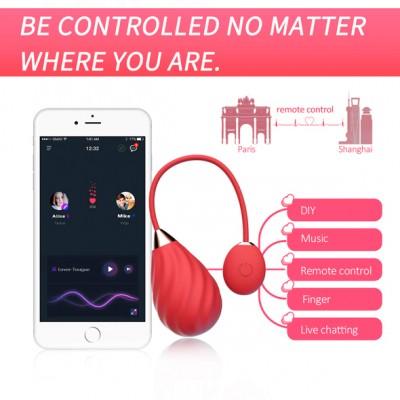 Magic Sundae Ovetto Vibrante Ricaricabile in Silicone Rosso con App