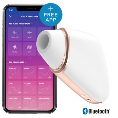 Stimolatore Clitorideo Aspirante Love Triangle con App - Bianco