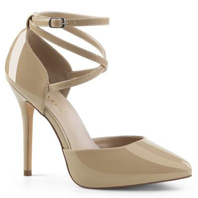 AMUSE 25 Décolleté nude con plateau d'Orsay nascosto 1 cm con cinturino incrociato alla caviglia, tacco 13 cm