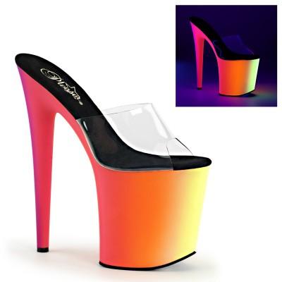 RAINBOW 801 sandali con tacco e plateau multicolor Neon 10 cm, tacco 20 cm, fascia trasparente