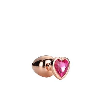 Plug Anale in Metallo Oro Rosa con Brillantino Rosa a Forma di Cuore M